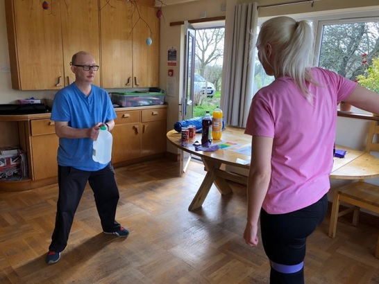 Lee & support worker Ruth exercise
